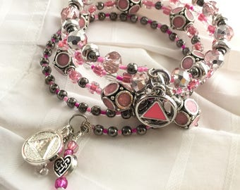 Pink enameled bead AA sobriety charm bracelet, Pink enameled Unity Recovery Service triangle, alcoholics anonymous,celtic heart