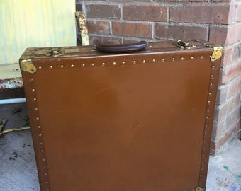 Antique Large Suitcase Brown Square Unique