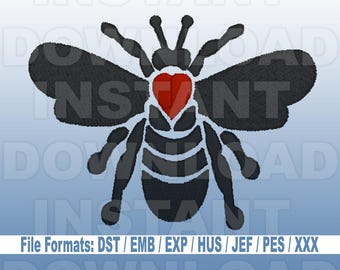 Bee Bumblebee Honeybee Machine Embroidery Design Download,Filled Stitch,4X4 Hoop,PES File,JEF File,hus File,dst File,exp File