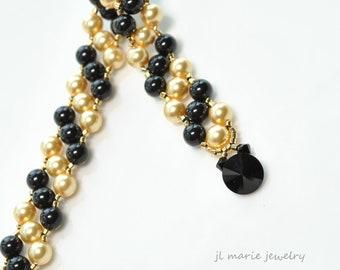 black and gold pearl bracelet . swarovski . black crystal . art deco . gift idea . gift for her .