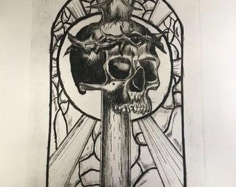 Holy Death Intaglio Drypoint print