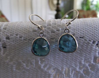Capri Blue Color Glass and Silver Framed   Earring,   Lovely  Necklace, Sterling Silver,  Wife and friends