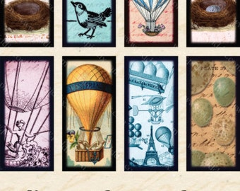 Vintage Swimming and Flying Two in One Digital Collage Sheet 7/8 x 1 7/8 Inches Hot Air Balloons Owls Nests Seahorse Ocean Sea piddix 853