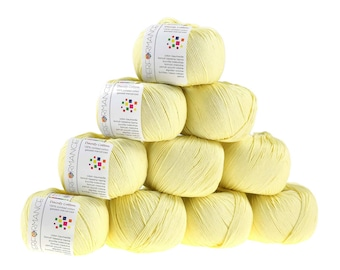 10 x 50g knitted yarn Dainty cotton, #176 pale yellow