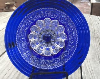 Beautiful Cobalt Blue Glass Plate Flower