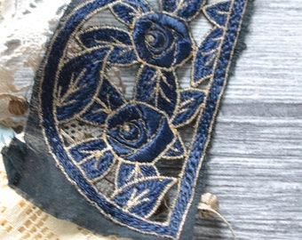 Embroidered vintage textile arts, old French embroidered decor blue roses applique, 1090