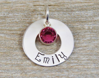 Hand Stamped Jewelry - Personalized Jewelry - Charm For Necklace - Sterling Silver Washer - Name & Birthstone