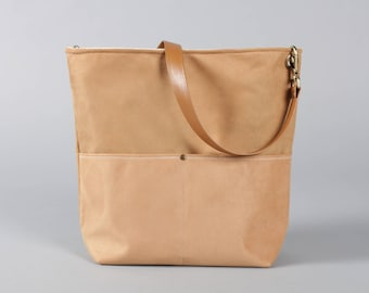 Camel Canvas Tote Bag, Bucket Bag, camel Bag, Hobo Tote, Casual Tote Bag, Handbag, dark beige bag, camel bucket bag, Lagut, Weekend Bag