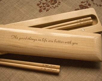 Chopstick Box + 2 Pairs Chopsticks (Beautiful Maple)