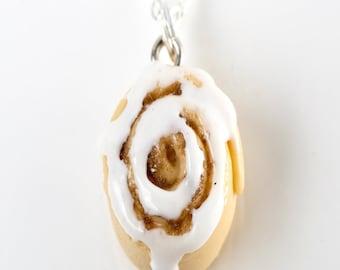 cinnamon bun necklace- miniature food jewelry, cinnamon roll necklace