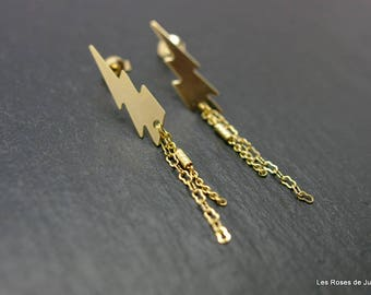 Earrings graphic lightning gold earrings