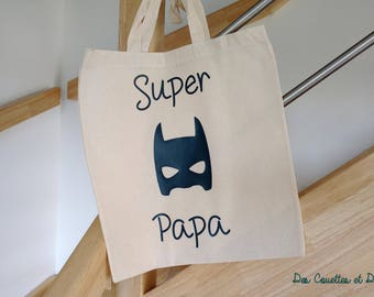 Tote bag SUPER dad - tote bag personalized men - Christmas gift - gift personalized tote bag fabric-dad gift friends couples