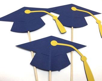 6 piece Graduation Table Decorations - Select a Color -  Centerpiece Picks - Class of 2018 - Graduation Party - College Grad - Table decor