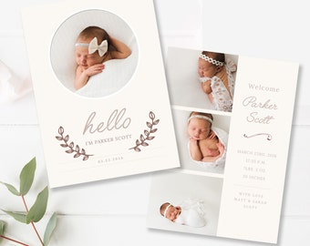 Baby Birth Announcement Template, 5x7 Card, Newborn Announcement, Photoshop Template - INSTANT DOWNLOAD