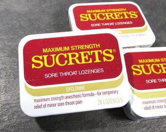 Sucrets Metal Box VINTAGE Sucrets Boxes Three (3) Used Sucrets Boxes Altered Art Supplies Assemblage Mixed Media Art Supplies Geekery (F214)