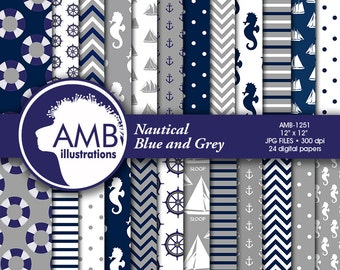 Nautical digital papers, Coastal papers, Nautical scrapbook papers, Blue and Grey Papers,  commercial use, AMB-1251