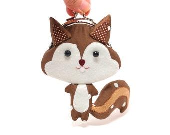 Süße Kastanien Braun Eichhörnchen Kupplung Geldbeutel