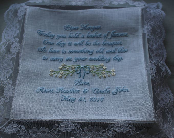 Personalized Flower Girl wedding handkerchief Gift,  Junior Bridesmaid, Embroidered Handkerchief, Bride, Something Blue, Wedding hankys,