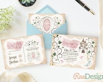 Cinderella Fairy Tale Wedding Invitation and RSVP Set - Printable Princess Template, Fairy Tale Invite, Castle, Chariot, Vine, Heart, Disney