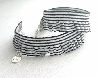 Black White Choker Necklace - ruffle collar style stretch elastic stripe - minimalist silver adjustable end chain - wrap bracelet pinstripe