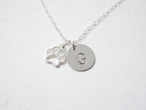 Pet Memorial | Initial Necklace | Paw Print Necklace | Cat Paw Print | Dog Paw Print | Silver Initial Necklace | Pet Paw Charm Necklace