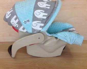 SALE **Infant Car Seat Cover- Ele/ Mint