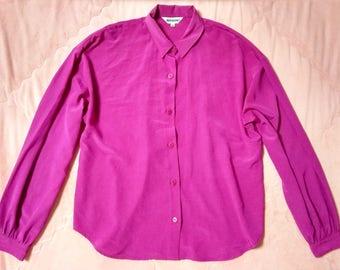80s Vintage Pink Blouse Shirt, 80s Vintage Fuschia Pink Blouse, Vintage Pink Blouse, Pink Button Up Blouse