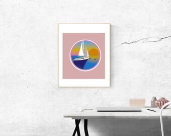 Summer Yacht Sailing Illustration Original Illustration Art Print