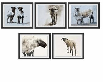 for her mom gift sheep art print of lamb Nursery art print girl watercolor painting lamb print lamb sheep print twin animal YOU PICK PRINTS