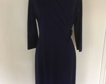 True Vintage - 1950's blue wool hourglass dress made for HARRODS - Approx UK 12/14.