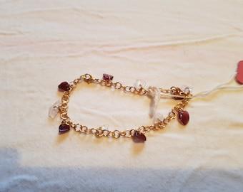 Garnet and Rose Quartz Bracelet.