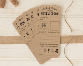 Vintage shabby chic WEDDING guest Words of Wisdom table trivia game and SIGN x 10 25 50 cards