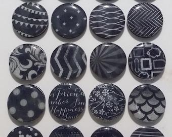 Black and White Fridge Magnets / Refrigerator Magnets / Magnet Set