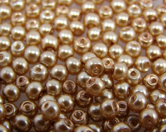 Beads 4 mm glass Pearl Gold color set of 25