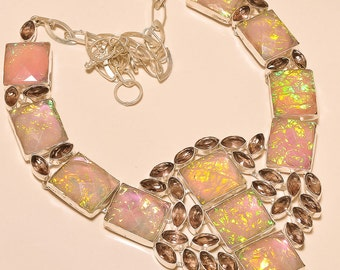 Triplet Opal with Faceted Kunzite Necklace .