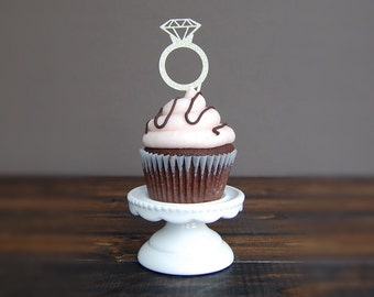 Diamond ring Cupcake topper, bridal shower, bridal shower decorations, cupcake toppers, engagement party decorations, wedding decor