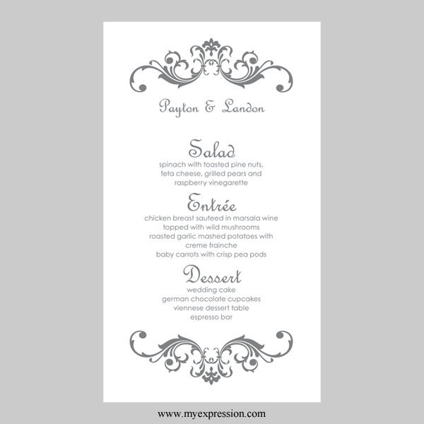 Hochzeit Menü Karte Vorlage Vintage Rollen grau silber