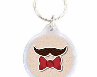 Mustache Butterfly key chain