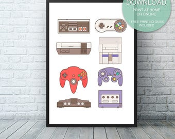 Video Game Decor, Game room decor,  game room sign, Nintendo Wall Art, video game room, Game Controllers, Video Game Art, Digital Download