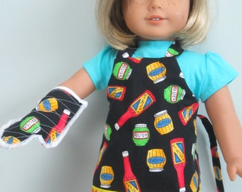 "18"" DOLL APRON and Hot Mitt"