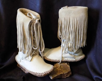 Tall Lace Up Boots, Handmade Elk Hide Leather Moccasins, Fringe Mocs, Natural Buffalo Soles, Hand Sewn, Mountain Man, Powwow, Regalia