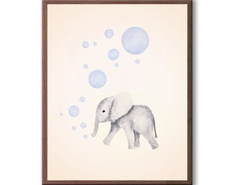 Baby Elephant Painting, Kids Room Art, Animal Art, Elephant, Playroom Art, Nursery Decor, Painting, Art Prints - E569B