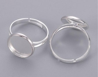 5pcs 12mm Cab Tray Adjustable Ring Blank3, Ring Finding,Ring Base, Pad ring, Brass Ring Blank for Cabochon Cab Ring Setting