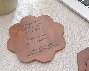 Leather coasters, coasters personalized, housewarming gift, 3rd Anniversary Gift,  Custom Engraved Coasters, set of 4-6