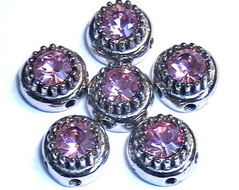 Six 2 Hole Slider Spacer Or Connector Beads 7mm Lt. Rose Austrian Crystal Domed Crown