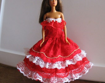 Barbie Red White Lace Strapless Party Dress