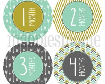 Monthly Baby Stickers, Baby Boy Month Stickers, Milestone Stickers, Baby Month Stickers Bodysuit Stickers, Mod Arrows Tribal (Carter Colors)