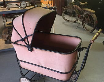 Vintage Wrought Iron Baby Carriage