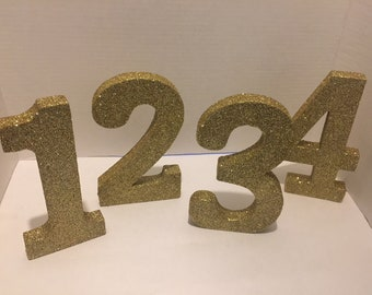 Glittered Table Numbers & Letters