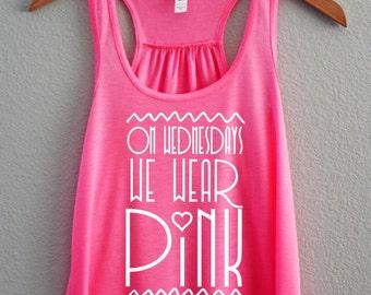 Wednesday's we wear pink, Fluorescent Women's Tank Top, Funny, Racerback Tank, Mean girls